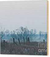 Fence In The Fog Wood Print