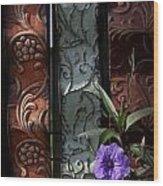 Fence Petunia Wood Print