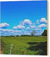 Fence Row And Clouds Wood Print