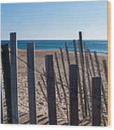 Fence Sand And Ocean Wood Print