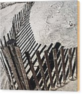 Fence Shadows Wood Print by John Rizzuto