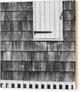 Fence Shutter And Weathered Wall Wood Print