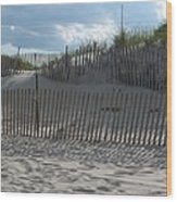 Fenced Dune Wood Print