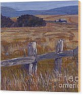 Fenced Field - Point Arenas Ca Wood Print