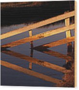 Fenced Reflection Wood Print