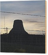 Fencing Devil's Tower Wood Print