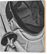 Fencing - Fencing Mask And Sword Wood Print