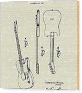 Fender Guitar 1951 Patent Art Wood Print