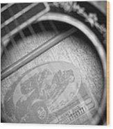 Fender Guitar Black And White 2 Wood Print
