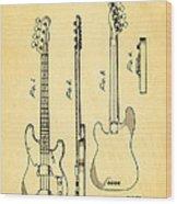 Fender Precision Bass Guitar Patent Art 1953 Wood Print