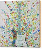 Fender Stratocaster - Watercolor Portrait Wood Print