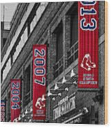 Fenway Boston Red Sox Champions Banners Wood Print