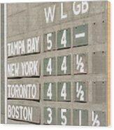Fenway Park Al East Scoreboard Standings Wood Print