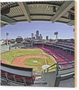 Fenway Park And Boston Skyline Wood Print