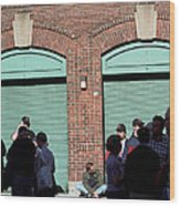 Fenway Park - Fans And Locked Gate Wood Print by Frank Romeo