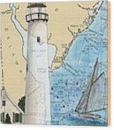 Fenwick Island Lighthouse De Nautical Chart Map Art Cathy Peek Wood Print