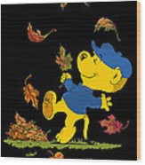 Ferald Dancing Amongst The Autumn Leaves Wood Print