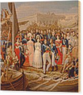 Ferdinand Vii Disembarking In The Port Of Santa Maria, 19th Century Oil On Canvas Wood Print