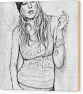 Fergie Art Drawing Sketch Portrait Wood Print