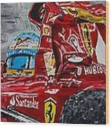 Fernando Alonso And Ferrari F10 Wood Print