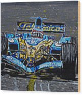 Fernando Alonso In Blue Wood Print