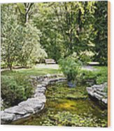 Fernwood Botanical Garden Frog Pond With Bench Niles Michigan Us Wood Print