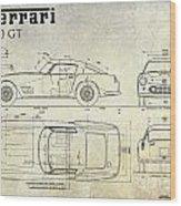 Ferrari 250 Gt Blueprint Antique Wood Print