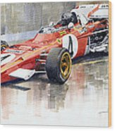 1971 Ferrari 312 B2 1971 Monaco Gp F1 Jacky Ickx Wood Print