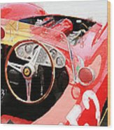 Ferrari Cockpit Monterey Watercolor Wood Print