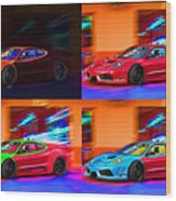 Ferrari Collage Wood Print