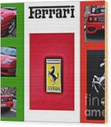 Ferrari Collage On Italian Flag Wood Print