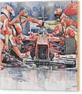 2012 Ferrari F 2012 Fernando Alonso Pit Stop Wood Print