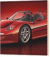 Ferrari F50 - Flare Wood Print by Marc Orphanos