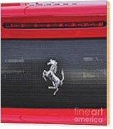 Ferrari - Rear Grill And Stallion Badge Wood Print