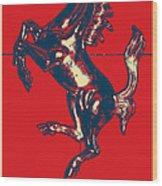 Ferrari Stallion In Hope Wood Print
