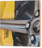 Ferrari Wheel - Brake Emblem Wood Print