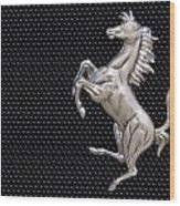 Ferrari's Horse Logo In Chrome Wood Print