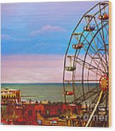 Ocean City New Jersey Ferris Wheel And Music Pier Wood Print