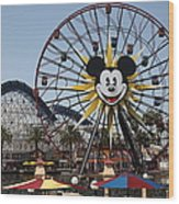 Ferris Wheel And Roller Coaster - Paradise Pier - Disney California Adventure - Anaheim California - Wood Print by Wingsdomain Art and Photography