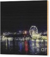 Ferris-wheel At The River Wood Print