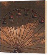 Ferris Wheel At Twilight Wood Print