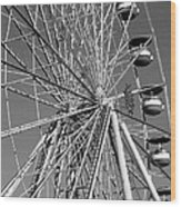 Ferris Wheel In Black And White Wood Print