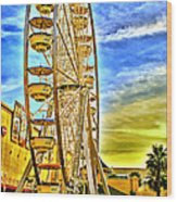 Ferris Wheel In Lb Wood Print