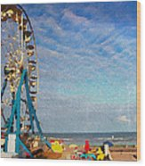 Ferris Wheel On A Gorgeous Day Wood Print