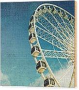 Ferris Wheel Retro Wood Print