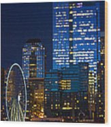 Ferris Wheel Seattle Harbor Wood Print