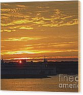 Ferry At Sunset Wood Print