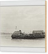 Ferry At The Terminal Wood Print