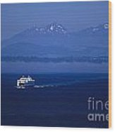 Ferry Boat In Puget Sound With Olympic Mountains Wood Print