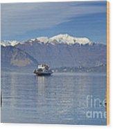 Ferry Boat On An Alpine Lake Wood Print
